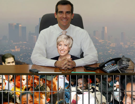 Eric Garcetti and Wendy Greuel Campaign while Lording Over the Polluted Prison that is Los Angeles