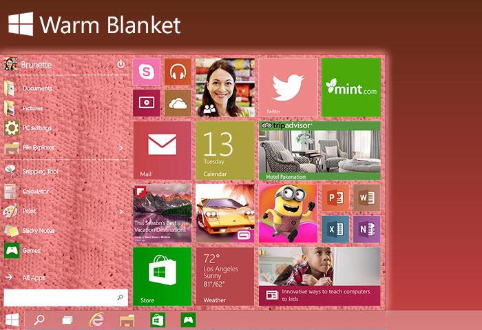 Windows 9 Warm Blanket Start Menu